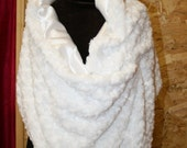 Ivory Rosebud/satin reversible shawl perfect for prom or wedding - washable - warm - Faux fur wrap - other colors available
