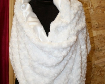 White Rosebud/satin reversible shawl perfect for prom or wedding - washable - warm - Faux fur wrap - other colors available
