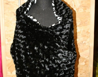 Black Rosebud/ Zebra satin reversible shawl for prom