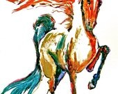 REDand BLUE GATTED Horse Watercolors prints Limited Edition (350 only) Signed by the Artist Carol Ratafia Double Matted TO 22X28
