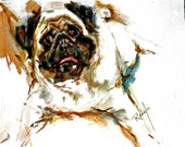 PUG Watercolor Dog Print Limited edition 350 prints only, each SIGNED And Numbered by the Artist Carol RATAFIA Double matted 22x28