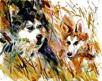 SIBERIAN HUSKIES or Sibs. Watercolor dog prints Double matted to 16x20 signed by the artist Carol Ratafia