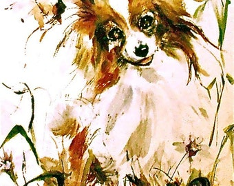 Papillon dog water color fine art  print.  Signed by the Artist Carol Ratafia Double Matted to 16 x20