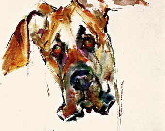 Great Dane natural ears Watercolor dog print Dane head uncut ears SIGNED by the Artist Carol Ratafia DoubleMatted to 16x20