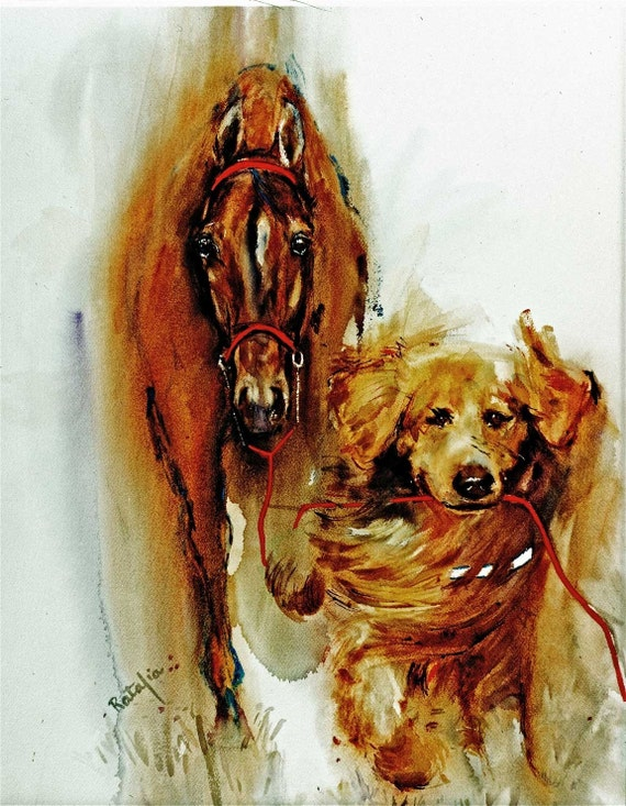 We are Going for a walk.  Watercolor horse and golden retriever print, signed by the artist Carol Ratafia, double matted to 16x20