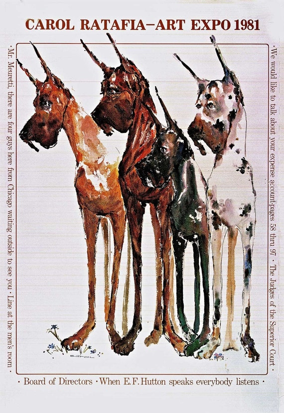 "Art Expo watercolor Great Dane poster 24""x36"".  Hand signed by the artist Carol Ratafia"