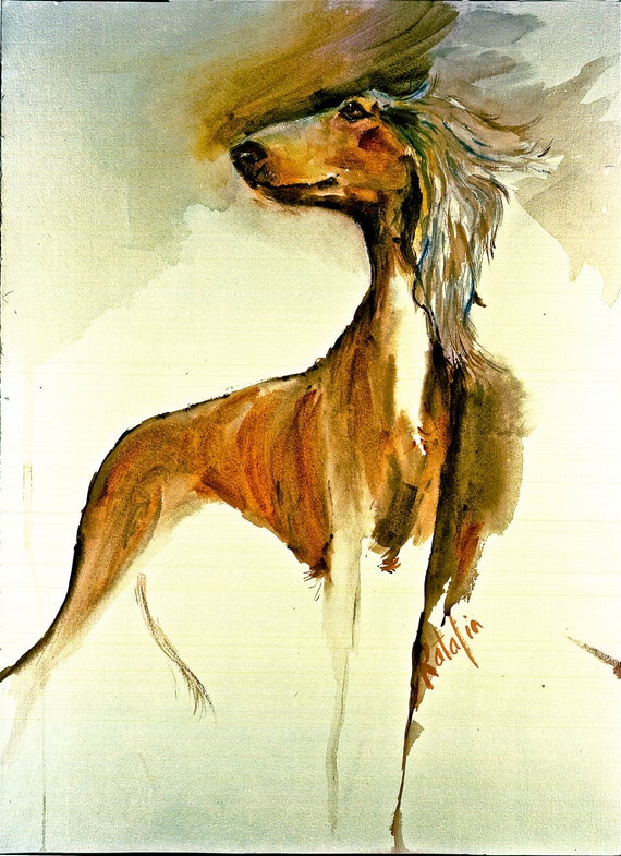 Items similar to saluki the world 39 s oldest breed for Dog painting artist