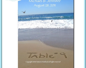 Personalized Table Numbers - Beach Wedding- Table written in Sand- Your Name and Date in the Sky