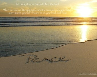 In Loving Memory - Personalized- Sympathy Gift -Tribute Peace written in the real beach sand - U Print