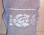 Hand Crocheted White Sleeveless Top Sz 34 With Waist Tie and Peplum