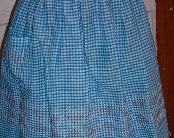Turquoise Gingham Apron with Orange and White Embroidery