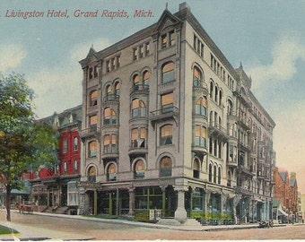 Vintage Postcard of the Livingston Hotel, Grand Rapids, Michigan