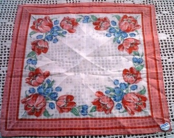 Large Cotton Handkerchief with Pink/Red Tulips
