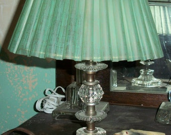 Vintage Crystal Lamp with Original Green Plastic Shade