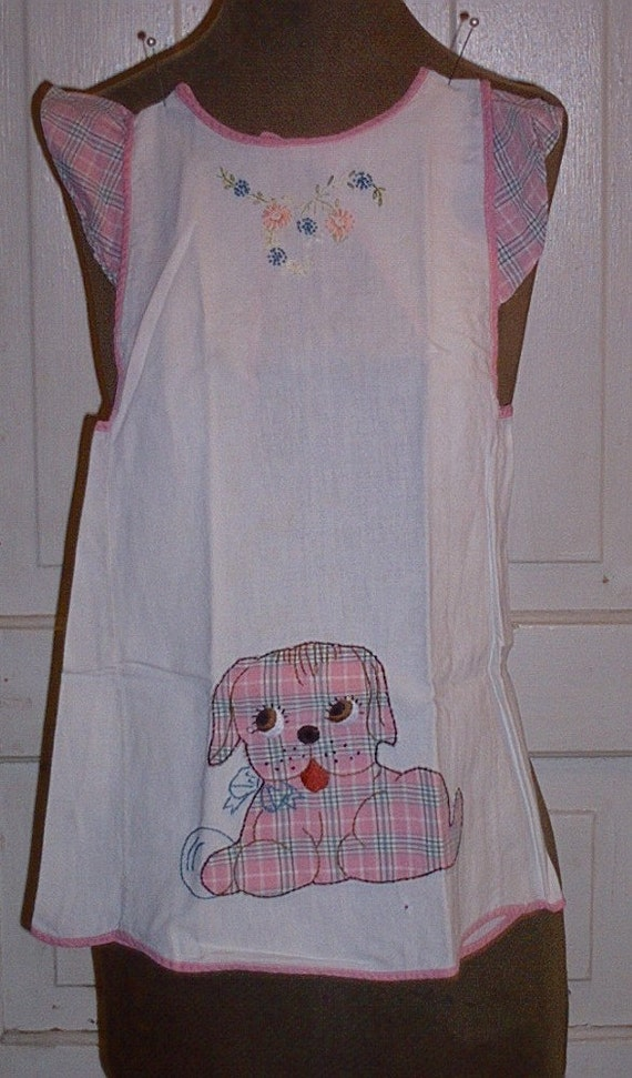 Little Girl's Pinafore with Embroidery and Applique