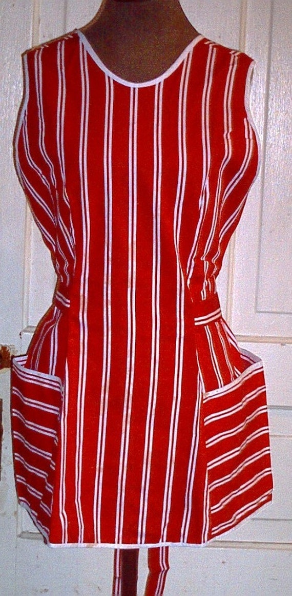 Mommy-Sized Red Striped Cotton Princess Seamed Pinafore Apron