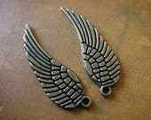 Wing Charm - 10 - Antique Bronze - Tibetan - Angel Wing Charm (ASWC)