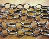 Antique Bronze Chain - PHileas Fogg - 5 Foot - Steampunk - Rustic - Antique Bronze Cross Chain