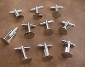 10 (Five Pairs) -Silver Toned Cuff Link Blanks -  Findings -12mm pad  (SCLB)