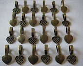 Jewelry bails - 25 New Tibetan Silver Bails - Antique Bronze Colored- Flat Pad Bails (TBB)