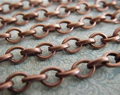 Antique Copper Chain - Elizabeth Browning - 10 Foot - Steampunk - Antique Red Copper Cross Chain