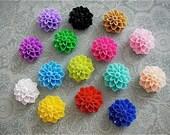 15 pc 15mm Cabochon - Color Mix - Resin flowers