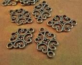 10 Fancy Necklace Links - Antique bronze Connectors - Filagree - Filigree Links (FFL)