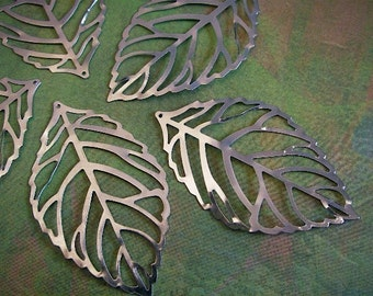 10 - Silver - Hollow Leaf - Pendant-  Charm (SHLPC)