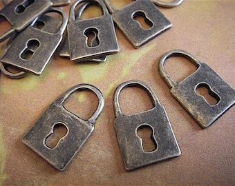 10 - Antique Bronze - Lock Charm (ABLC23)