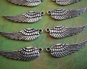 10 - Antique Silver - Tibetan - Angel Wing Charm (ASWC)