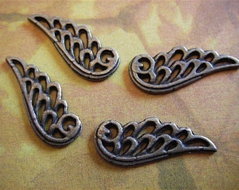 Antique Bronze Angel Wing Charm - 10 - Antique Bronze - Angel Wing Charm (ABAWC)