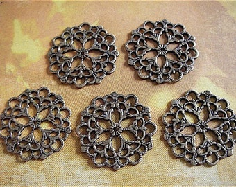 10 - Antique Bronze - Ornate Circle Spacer Bead (ABOSB)