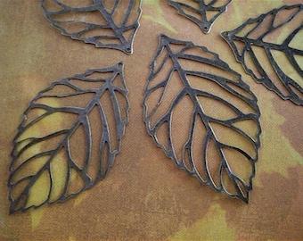 5 - Antique Bronze - Hollow Leaf - Pendant-  Charm (HLPC)