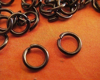 100 - Gun Metal Black - Jumprings - 6mm (B6mm)