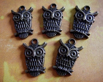 Owl Charms 5 - Antique Bronze- Owl Charm (ABOC)