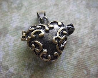 1 - Antique Bronze - Heart Box Locket Pendant Settings  (TCLPS)