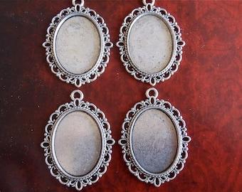 Antique Silver Pendant Settings - 4 - Oval cabachon setting - Pendant Settings