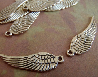Antique gold wings - 10 - Antique Gold - Tibetan - Angel Wing Charm (ASWC)