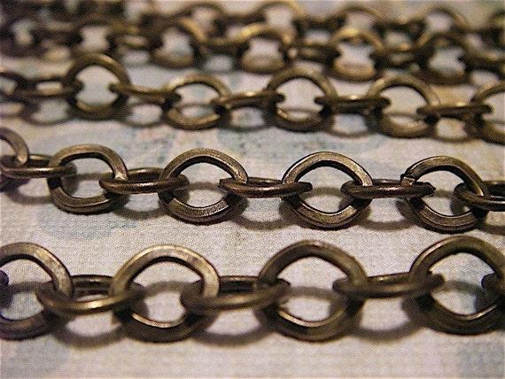 H.G. Wells - 5 Foot - Steampunk - Rustic - Antique Bronze Cross Chain