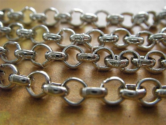 Lewis Carroll - 5 Foot - Steampunk - Chunky - Antique Silver Rolo Chain