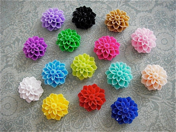15 pc 15mm Cabochon - Color Mix - Resin flowers