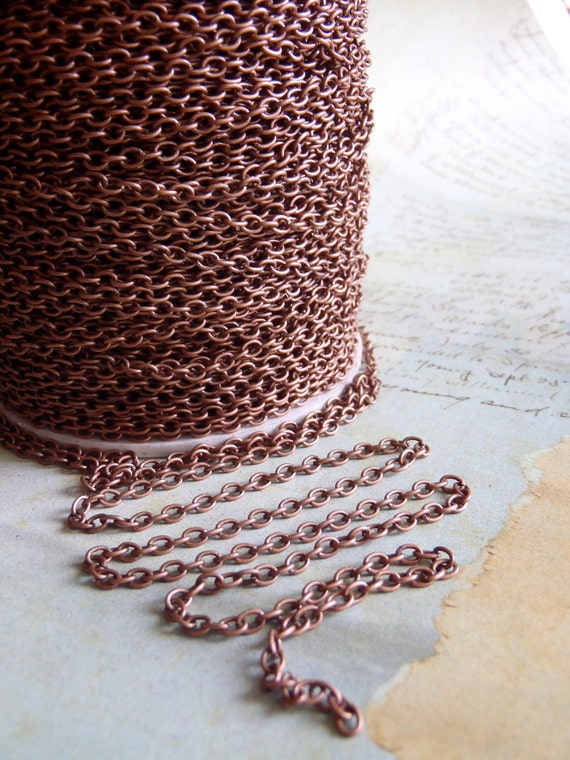 Special 20 ft  Antique Copper chain - Alexandar Bell - 20 Foot - Steampunk  - Antique Copper Cross Chain