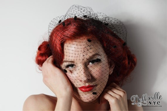 Black Birdcage Veil with Chenille Dots Vintage 1950's 1940's inspired Fascinator