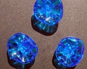 Clear blue glass flower magnets - set of 3