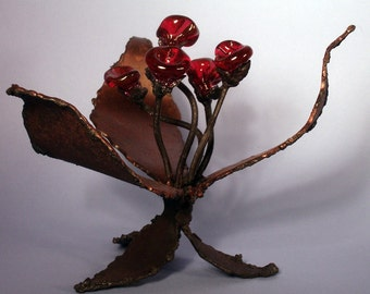 Five-Rosy Whirl metal plant sculpture