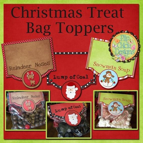 Printable christmas treat bag toppers set of