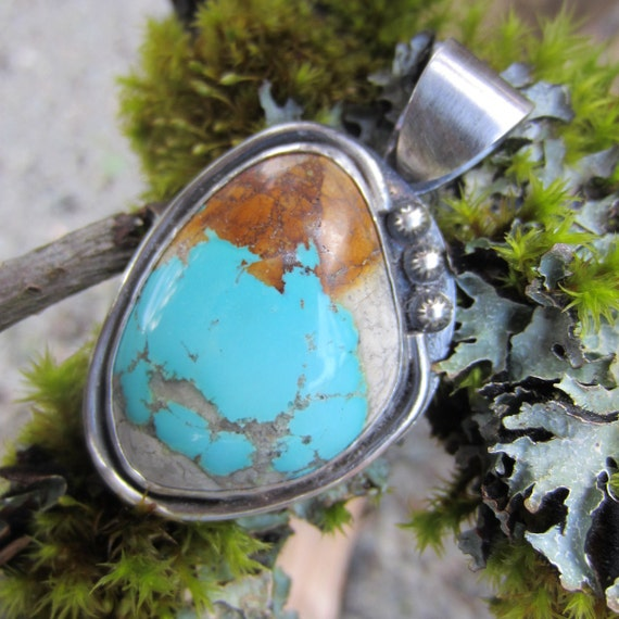 Royston Boulder Turquoise and Silver Pendant