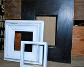 Vintage set of 3 frames painted black and white