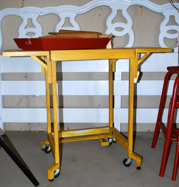 Vintage metal typewriter cart painted yellow