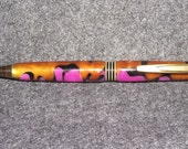 Gold Black Pink Acrylic Hand Turned Ball Point Pen Cross